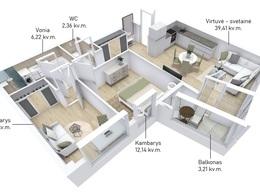 Parduodamas butas Lvovo g., Šnipiškėse, Vilniuje, 75.2 kv.m ploto, 3 kambariai