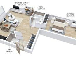 Parduodamas butas Jeruzalėje, Vilniuje, 70.47 kv.m ploto, 3 kambariai