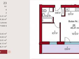 Parduodamas butas Rygos g., Vilniuje, 45.41 kv.m ploto, 2 kambariai