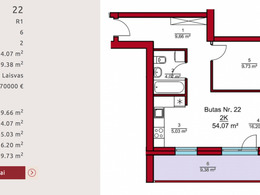 Parduodamas butas Rygos g., Justiniškėse, Vilniuje, 54.07 kv.m ploto, 2 kambariai