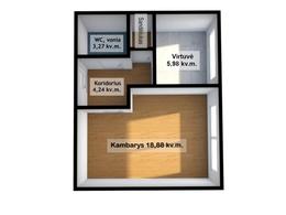 Parduodamas butas Pramonės pr. 24, Dainavoje, Kaune, 33 kv.m ploto, 1 kambariai