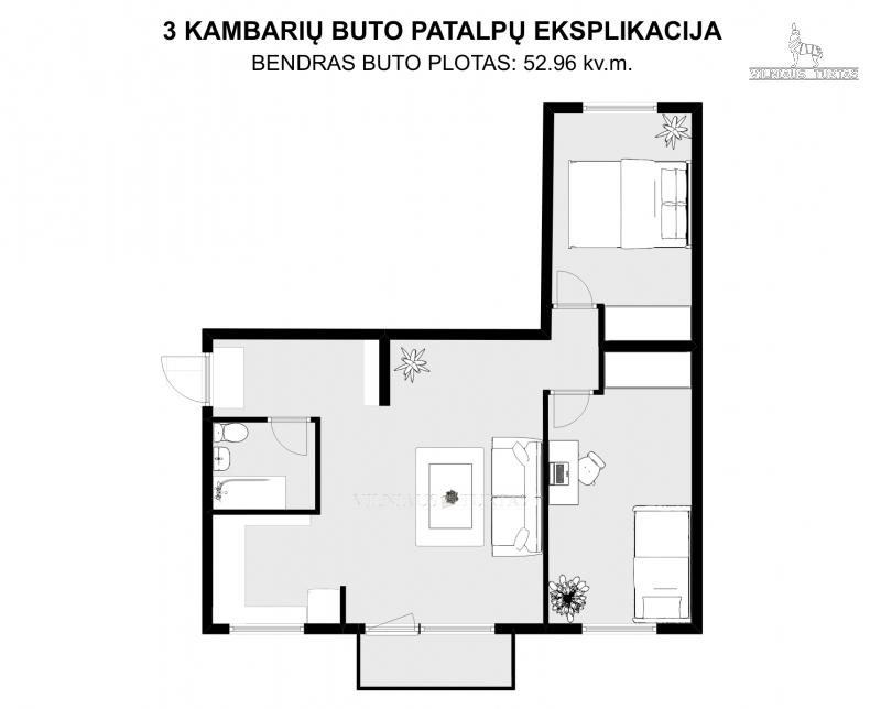 Parduodamas butas Antakalnio g., Antakalnyje, Vilniuje, 52 kv.m ploto, 3 kambariai - <strong></noscript><img class=