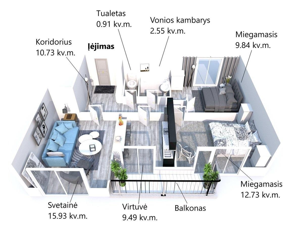 Nuomojamas butas Gelvonų g. 38, Šeškinėje, Vilniuje, 67 kv.m ploto, 3 kambariai - <strong>400 €