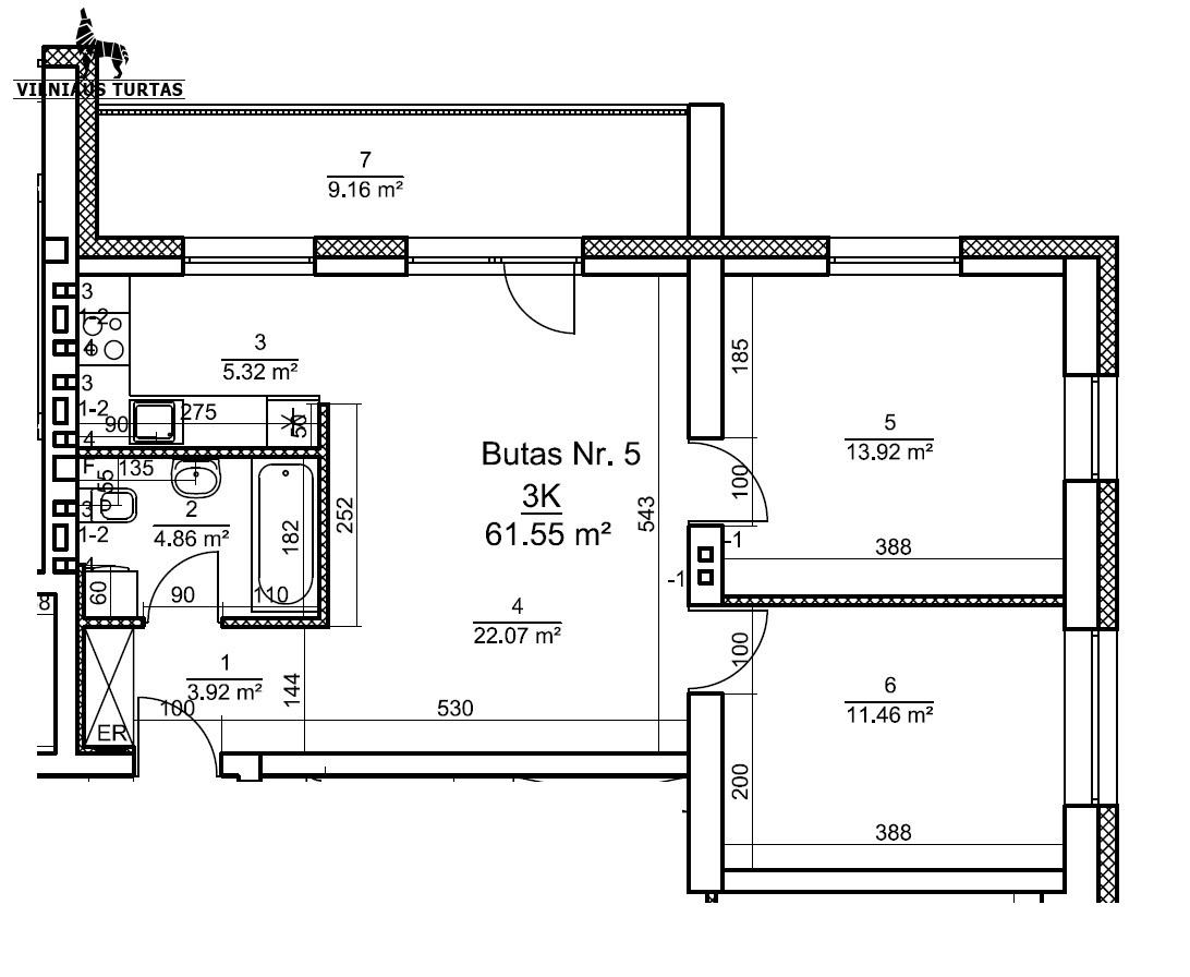 Parduodamas butas Rygos g. Rygos g. 46, Vilnius, Justiniškėse, Vilniuje, 71 kv.m ploto, 3 kambariai - <strong>78 000 €