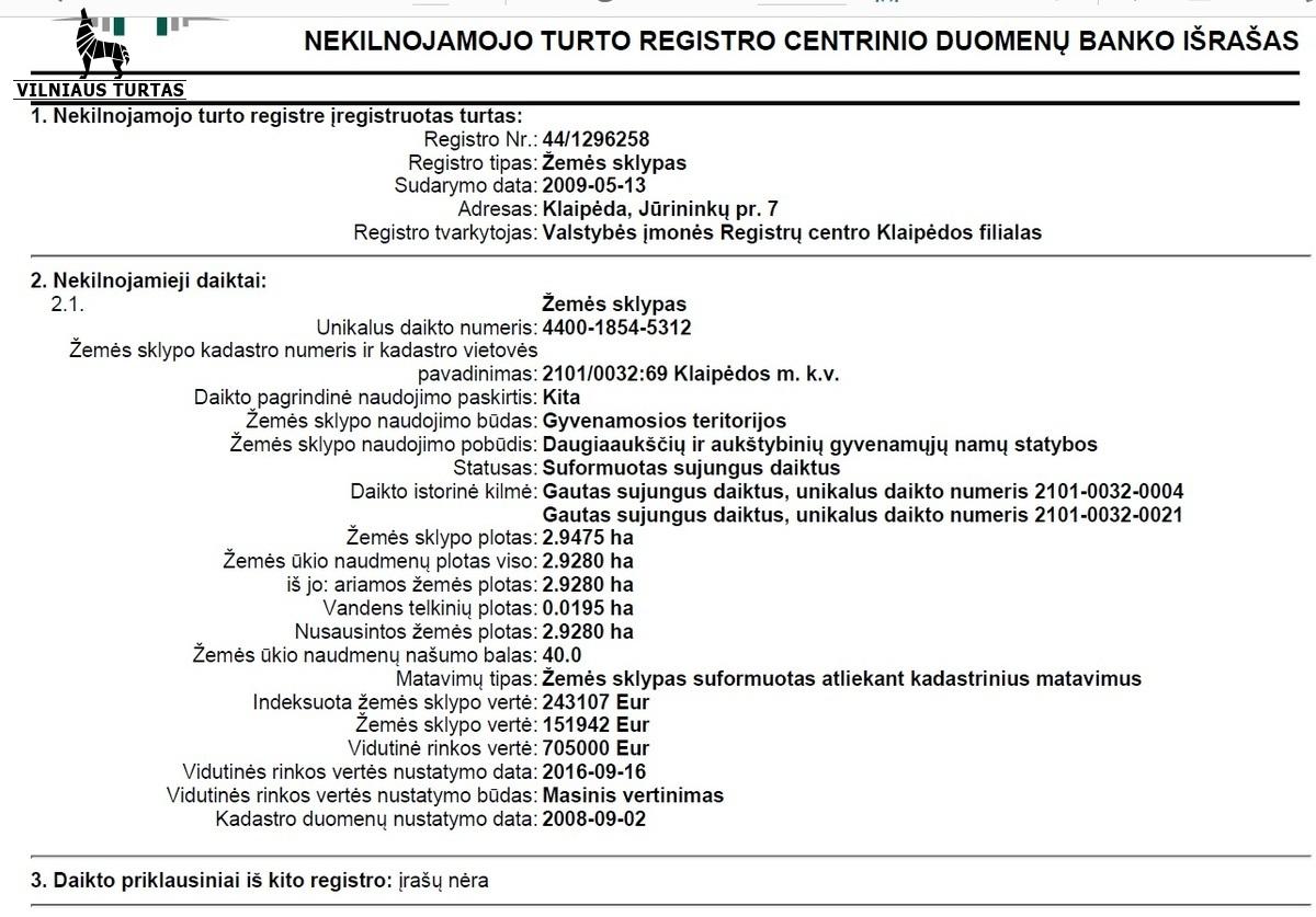 Parduodamas sklypas Jūrininkų pr. Jūrininkų pr. 7, Klaipėda, Klaipėdoje, 294 a ploto - <strong>899 000 €